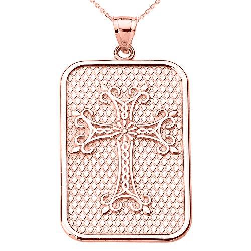 Collier Femme Pendentif 10 Ct Or Rose Arménien Apostolique Croix (Livré avec une 45cm Chaîne)