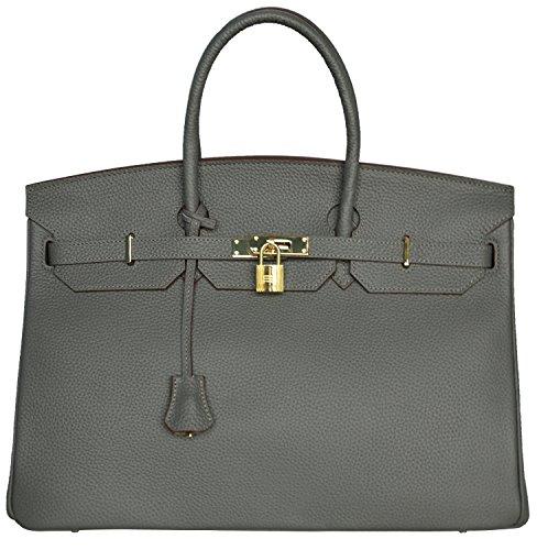 Cherish Kiss 40cm Oversized Padlock Business Office Top Handle Handbags (40cm Light Grey) by Cherish Kiss