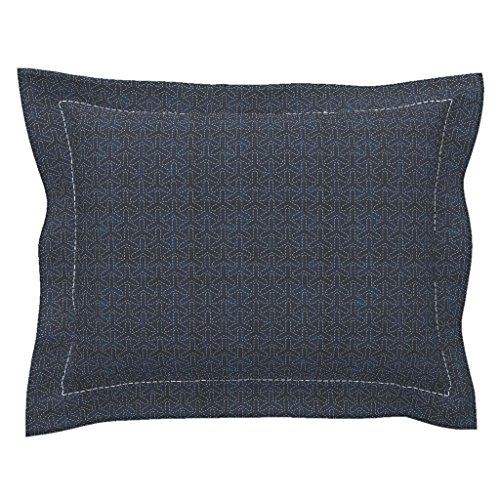 Roostery Sashiko Euro Flanged Pillow Sham Sashiko: Bishamon-Kikko - Tortoise Shell by Bonnie Phantasm Natural Cotton Sateen made by (Mix Shell Tortoise)