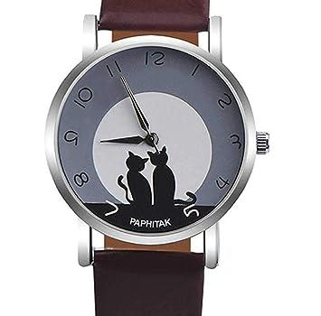 Relojes de cuarzo ICHQ para mujer, con patrón de gato, reloj de pulsera para mujer: Amazon.es: Hogar