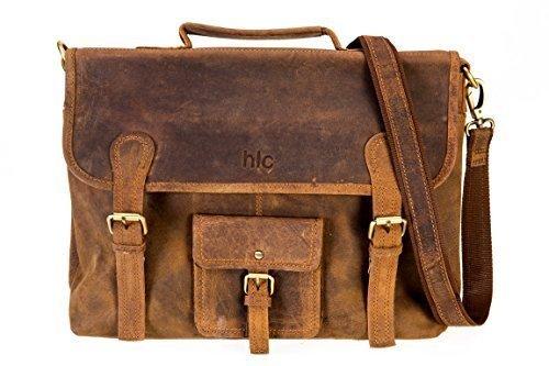 Handolederco 16'' genuine leather satchel messenger briefcase men's bag leather laptop messenger women's bag