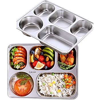 AIYoo Set of 2 Stainless Steel Rectangular Divided Dinner Tray 5 Sections Dinner Plates - 304 SS Great for Adults,Kids, Picky Eaters, Campers, and for Portion Control