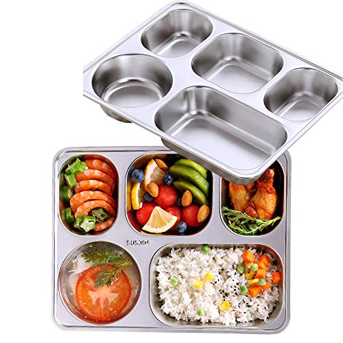 (AIYoo Set of 2 Stainless Steel Rectangular Divided Dinner Tray 5 Sections Dinner Plates - 304 SS Great for Adults,Kids, Picky Eaters, Campers, and for Portion Control)