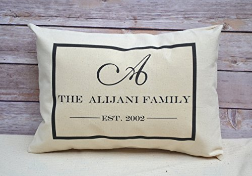 Personalized Couples Pillow and Family Name Pillow with Large Monogram and Established Date Cotton Anniversary 2nd Anniversary Gift Huntsman