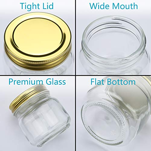 6308c59bf811 Encheng 8 oz Glass Jars With Lids,Ball Wide Mouth Mason Jars For ...