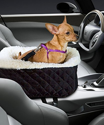 Meago Pet Console Booster, Hkim Car Seat Lookout Carrier with Cashmere Cream Fur Safety Belt for Small Pets and Cats (Black) by Meago