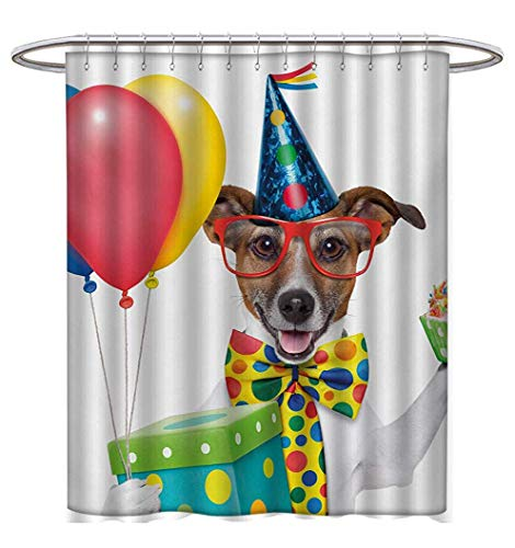 Anhuthree Kids Birthday Shower Curtains with Shower Hooks Waiter Server Party Dog with Hat Cone Cupcake Balloons Celebration Boxes Satin Fabric Bathroom Washable W72 x L96 Multicolor