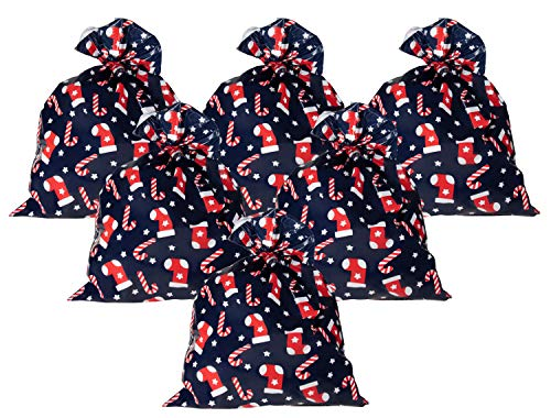 - Pack of 6 Jumbo Gift Bags - Giant Plastic Gift Sacks, Candy Cane and Christmas Stocking Design - Perfect for Large Christmas Gifts - Includes Strings for Tying, Navy Blue, 36 x 48 Inches