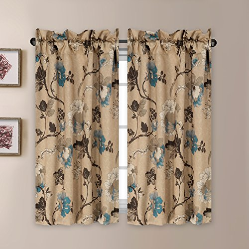 H.VERSAILTEX Thermal Insulated Elegant Curtain Drapes Room Darkening Rod Pocket Kitchen Curtain Tier Set - Vintage Floral Pattern - (58