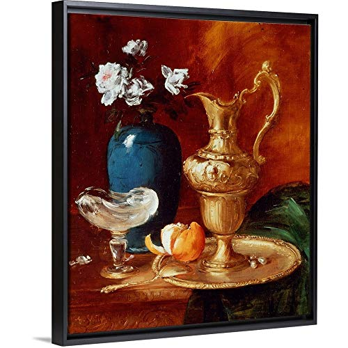 Antoine Vollon Floating Frame Premium Canvas with Black Frame Wall Art Print Entitled Still Life of a Gilt Ewer, vase of Flowers and a facon de Venise Bowl 20