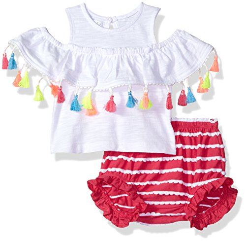 Mud Pie Baby Girls Tassel Pinafore Cold Shoulder 2 Pc Play Set & Bloomers, White, 0-3 Months