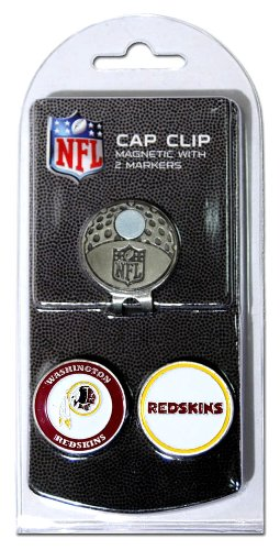 Team Golf NFL Washington Redskins Golf Cap Clip with 2 Removable Double-Sided Enamel Magnetic Ball Markers, Attaches Easily to Hats