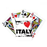 I Love Italy Word Love Heart Square Poker Playing Cards Tabletop Game Gift