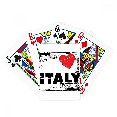 I Love Italy Word Love Heart Square Poker Playing Cards Tabletop Game Gift by beatChong
