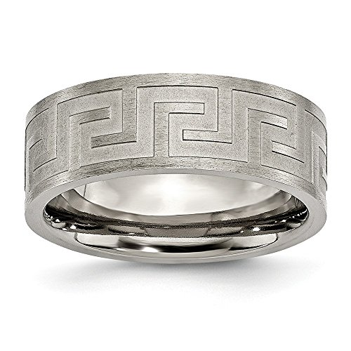 Jewelry Stores Network Mens Titanium Greek Key 8mm Satin and Polished Wedding Band Ring ()