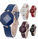 Fashion Women Ladies Leather Band Analog Quartz Prism Watch 6 Pcs Fiiliip (Mixed Color)