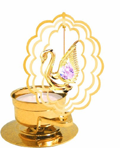 - 24K Gold Plated Swan in Scalloped Oval Tea-Light..... With Pink Swarovski Austrian Crystal