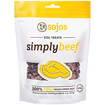 SOJOS Freeze-Dried Meat Treats for Dogs 3 Pack Simply Variety Bundle 1 Beef Snack Treats 1 Lamb Snack Treats 1 Turkey Snack Treats 12 Oz Total W YHS Pets Bowl – 100 Made in USA
