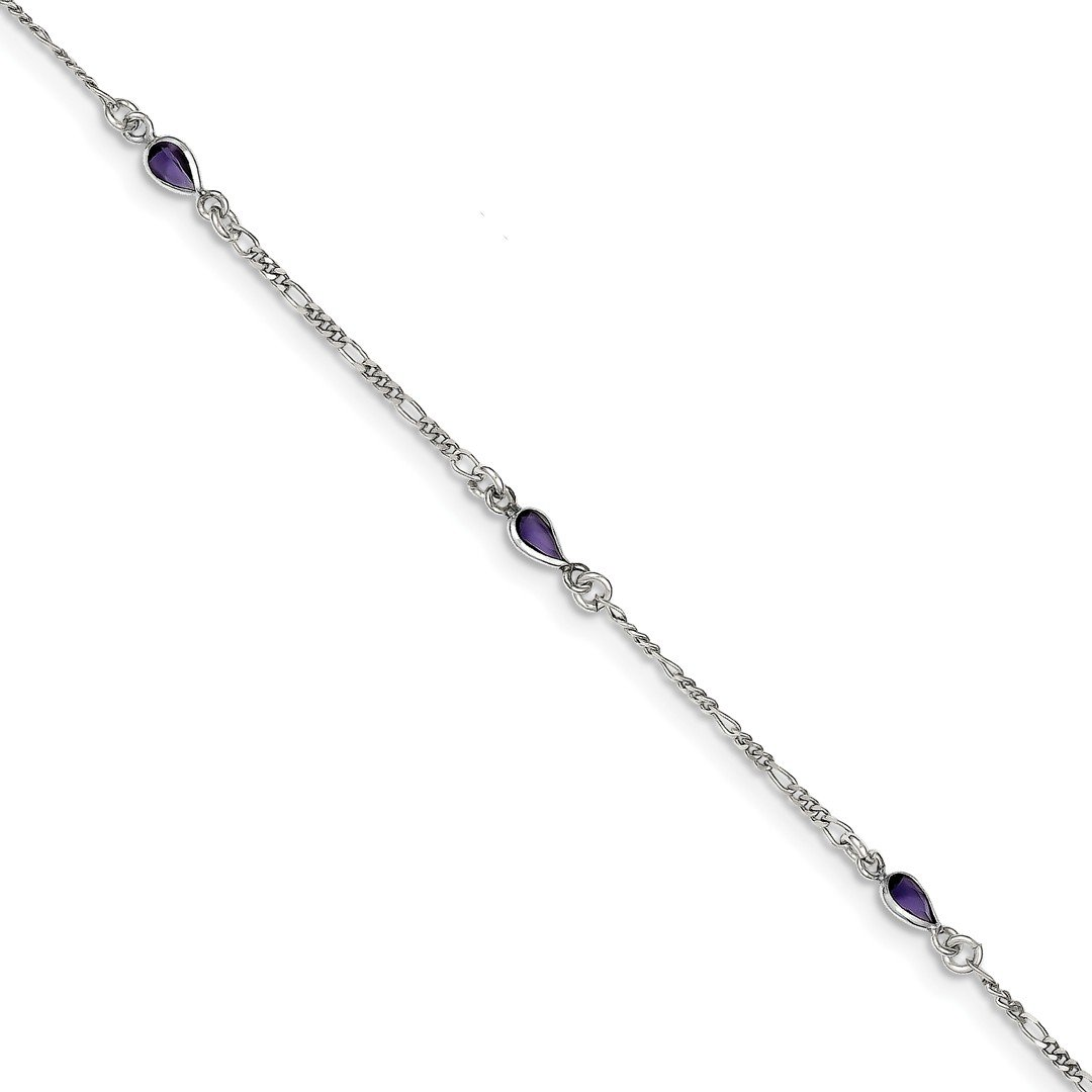 Ankle Bracelet Foot Jewelry Anklet - ICE CARATS 925 Sterling Silver Purple Glass Ankle Bracelet Anklet Beach Chain Fine Jewelry Ideal Gifts For Women Gift Set From Heart