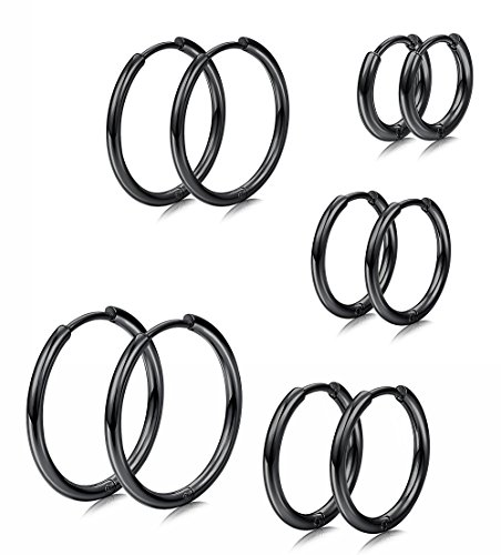 Milacolato 5 Pairs Stainless Steel Basic Small Large Endless Hoop Earrings for Mens Womens Cartilage Huggie Nose Tongue Body Ring Piercing 8-16mm 8-16mm Black - Basic Black Earrings