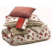 Ashley Furniture Signature Design - Cayenne Bedding Set - Queen Size - Reversible - Set of 5 - Rouge