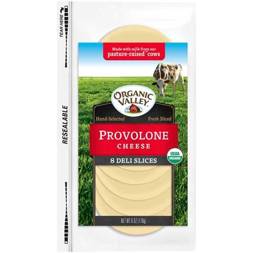 Organic Valley Organic Provolone Cheese Slice, 6 Ounce -- 12 per case.