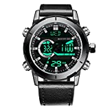 Menton Ezil Mens Fashion Digital Analog Watch 50M Waterproof Quartz Multifunction Sport Wrist Watches
