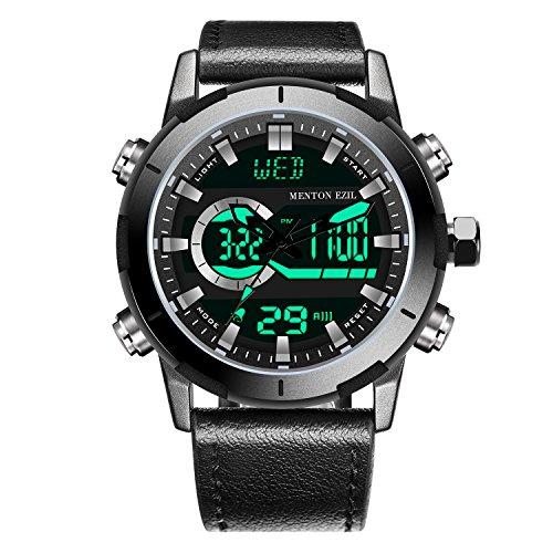 Best Deals! Menton Ezil Mens Tactical Watch Unique Sport Digital Analog 50M Waterproof Square Dial B...