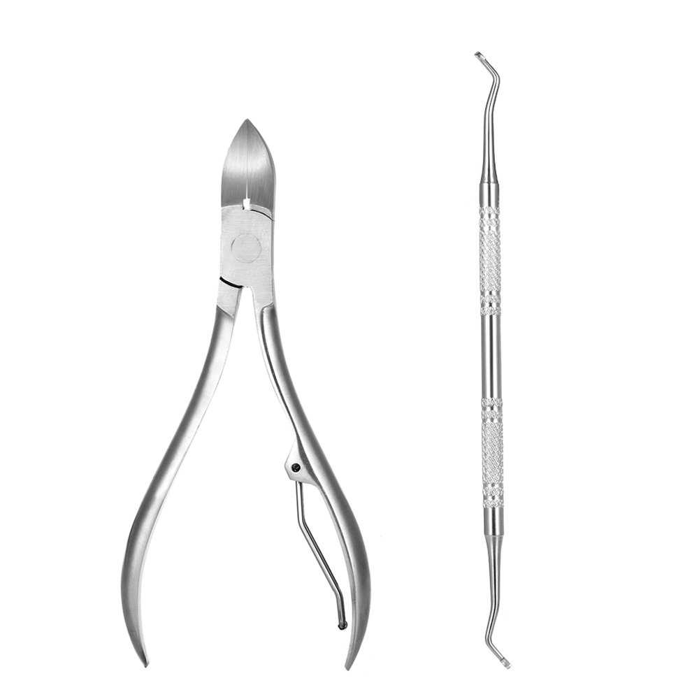 Anself 2pcs Stainless Steel Nail Cuticle Scissor Ingrowing Toenail Cleaner Nail Clippers Finger Toe Nail Nipper Manicure Pedicure