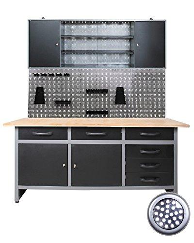 Werkstatteinrichtung Werkstatt - Werkbank, Hängeschrank, Euro-Lochwand mit Haken + LED-Lampe
