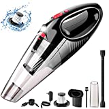 Handheld Vacuum, Cordless Handle Vacuum Cleaner with USB Charging Cable, 100V/240V Charge Adapter, Waterwashable Steel Filter, 120W 7000pa Powerful Wireless Vacuum with LED Light for Car & Home