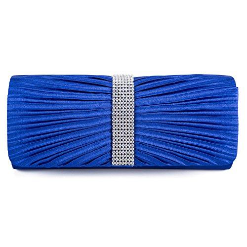 Satin Bow Handbag Navy Bridal Clutch Prom Wedding Diamante Ladies BAIGIO Pleated Blue Royal Bag FwqT66Z