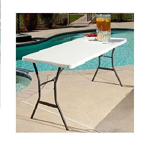 Lifetime 5ft Light Commercial Fold In Half Table   White Granite ...