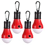 LED Camping Lantern - LED Camping Light [4 Pack] Doukey Portable LED Tent Lantern 4 Modes for Backpacking Camping Hiking Fishing Emergency Light Battery Powered Lamp for Outdoor and Indoor (Red)