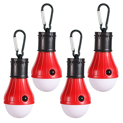 Doukey LED Camping Lights [4 Pack] Portable LED Tent Lanterns 4 Modes for Backpacking Camping Hiking Fishing Emergency Light Battery Powered Lamp for Outdoor and Indoor (Red)