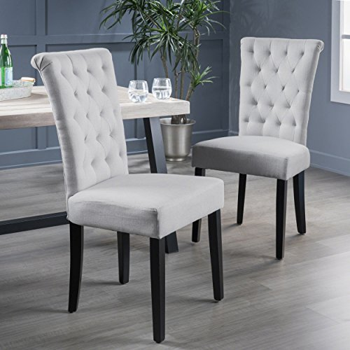 Christopher Knight Home 238620 Venetian Dining Chair, Light Grey