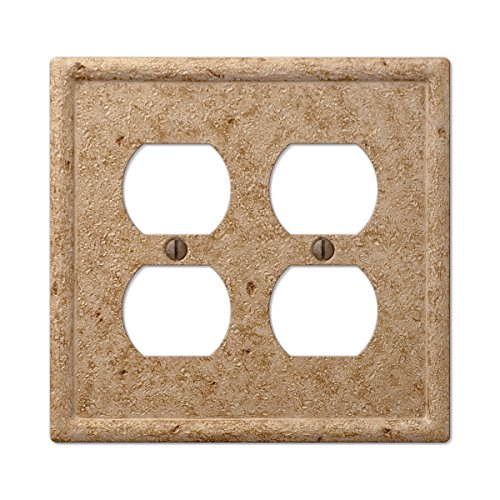 Travertine Switchplates - Tumbled Faux Textured Stone Double Duplex Outlet Wall Plate, Noce Resin