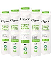 Cliganic Organic Cotton Rounds (500 Count) Makeup Remover Pads, Hypoallergenic, Lint-Free   100% Pure Cotton