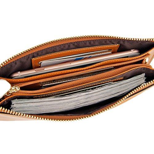 Lecxci, monedero largo de cuero real para mujer, billetera con correa para la muñeca para tarjetas de crédito, teléfono inteligente, dinero en efectivo. marrón