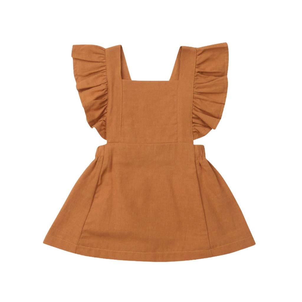 HEETEY Kleid Rock Sommer Neugeborene Babys Ärmelloses Rüschen Volltonfarbe Kleid Rückenfreie Kleider Kleider Sommerkleid Festkleid