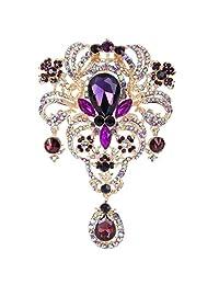 Ever Faith Bridal 5 Inch Flower Pendent Brooch Red Austrian Crystal