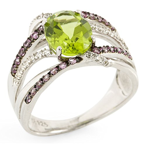 Glamouresq Sterling Silver 9mm Oval Shape Natural Peridot & Round Cut Created White Sapphire Women's Ring, Size (Estate Ring)