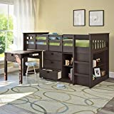 CorLiving BMG-370-B Madison Loft Bed with Desk and Storage, Single/Twin, Rich Espresso