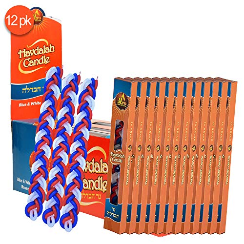 Ner Mitzvah 12-Pack Braided Havdalah Candle - Flat Red, Blue and White Paraffin Wax - Handcrafted Havdallah Candle - Shabbat Judaica Gift