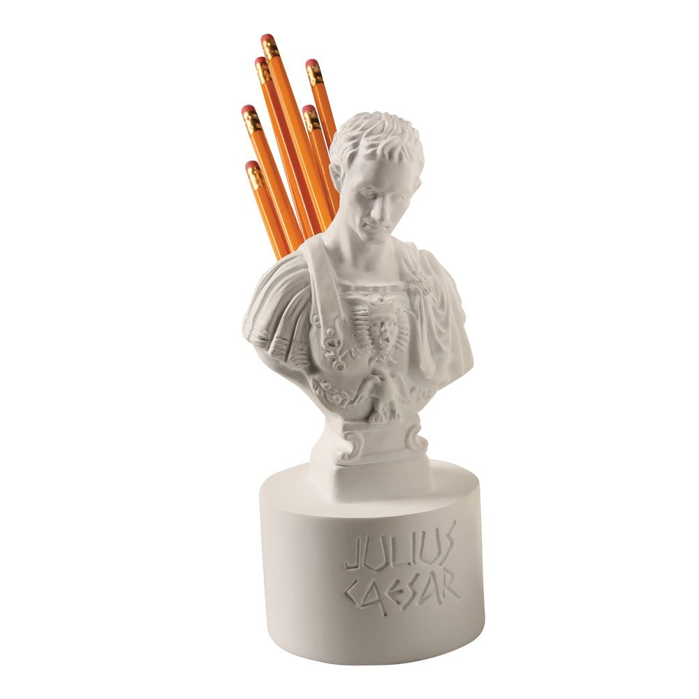 What on Earth Ides of March Pen and Pencil Holder - Julius Caesar Bust Statue Office Desk Accessory by WHAT ON EARTH