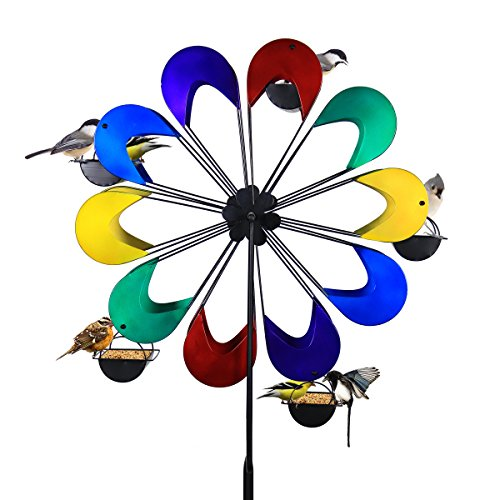 Exhart Ferris Feeder – Coney Island Multi-Color, Bird Feeder, Wheel Statue, Backyard/Outdoor / Garden