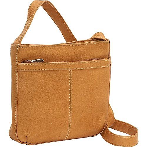 Le Donne Leather Shoulder Bag w/Exterior Zip Pocket (Tan) (Shoulder Bag Leather Vacquetta)