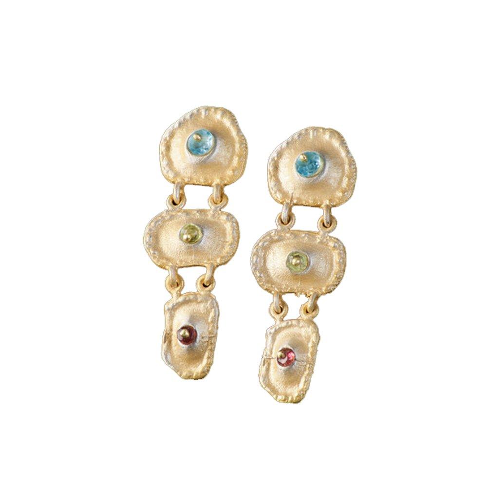 ''Sea Urchin'' Multi-Stone Hanging Earrings by Michael Michaud for Silver Seasons…