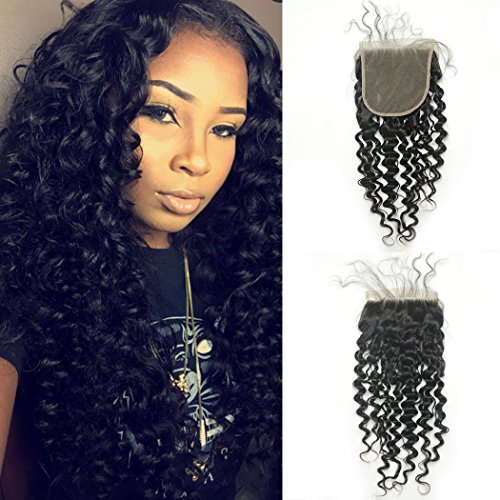 Beauty : Luwigs 5x5 Lace Closure Brazilian Virgin Hair Deep Wave Curly Free Part With Baby Hair Natural Color (18 inches, Deep Wave)
