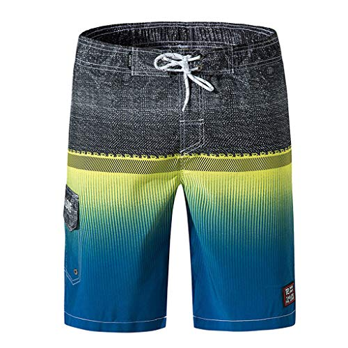 ANJUNIE Swimming Loose Shorts, Men's Casual Color Collision Beach Surfing Pants(Yellow,XL)